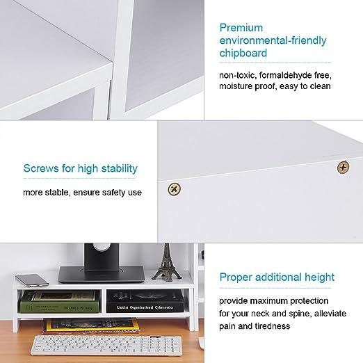 Bildschirmerhöhung Monitorerhöhung PC Schreibtischregal mit Stifthalter Weiß