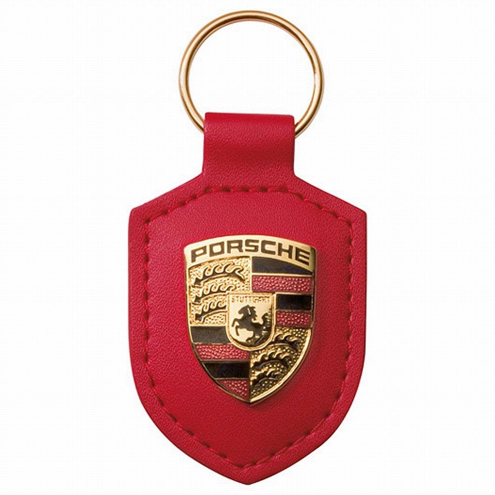 Porsche Original Key Fob Red Leather with Metal Colour Crest in Silver Porsche Presentation Box