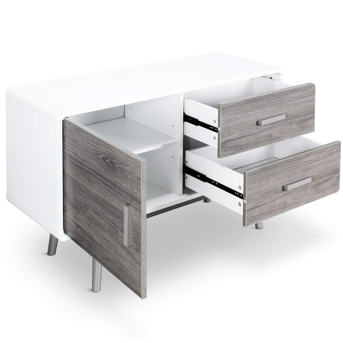 BELLEZE Contemporary Sideboard Buffet Table Cabinet with Wood Storage Console Table 2 Drawers & 1 Cabinet White by Belleze (Image #3)