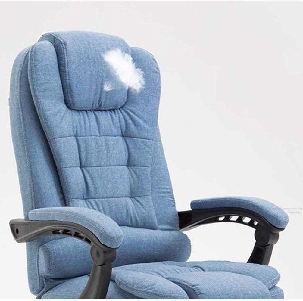 Barstolar Xiuyun kontorsstol spelstol, hög rygg verkställande uppgift svängbar stol dator skrivbord spelstol med armstöd och utdragbar fotpall Blå-b Blå-a