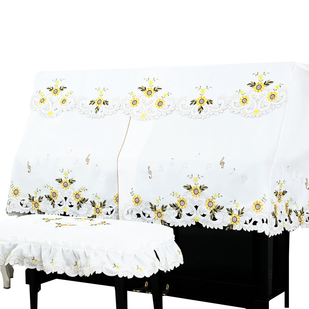 OLizee 1 Set Upright Piano Cover for 148-153cm Piano Embroidery Dust Cover with Piano Stool Bench Cover (Stool Cover 78 x 38cm, Sunflowers)