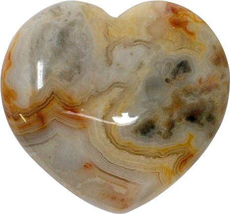Edelstein Crazy Lace Achat Herz gelb-grau 4 cm Edelsteinherz Steinherz Achat Gl/ücksstein 2 St/ück