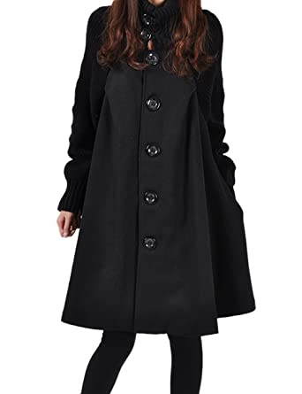 a6b9d6347e Sexyshine Women's Mid Long Length Single Breasted Cowl High Neck Loose  Button Down Woolen Cloak Coat