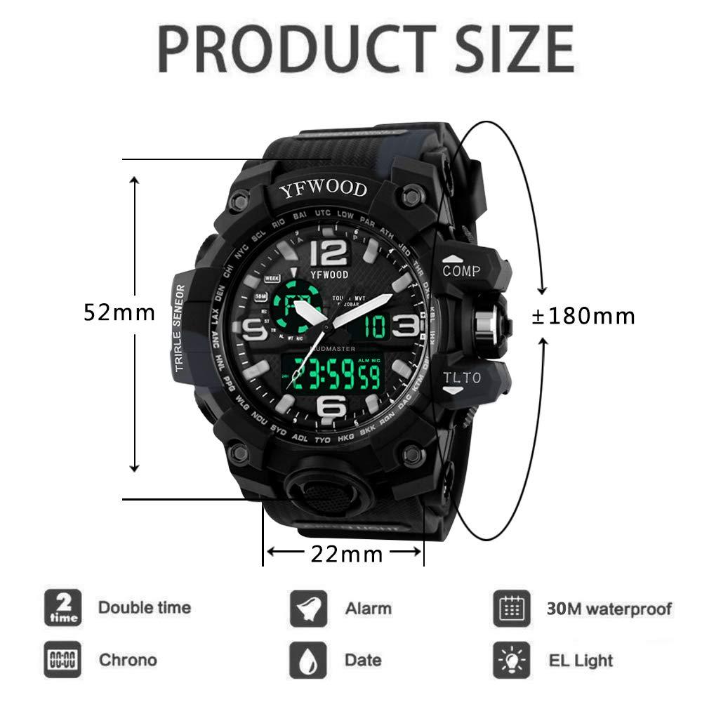 Reloj de pulsera para hombre, cuarzo, movimiento japonés, multifuncional, resistente a los golpes, esfera negra, esfera LED, alarma, analógico, digital, ...