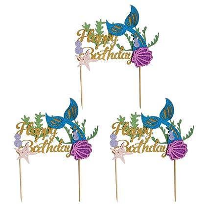 SUPVOX 3 Piezas Feliz cumpleaños Pastel Toppers Glitter ...
