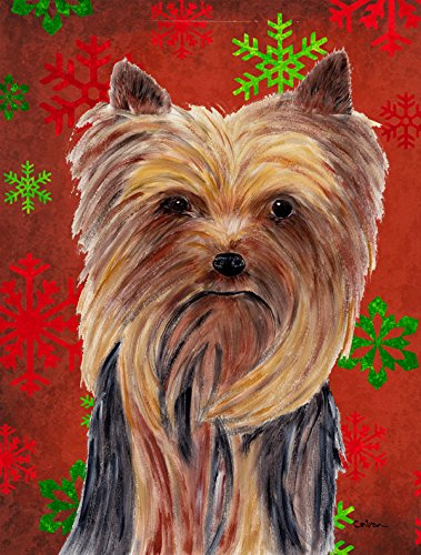 Caroline's Treasures SC9405GF Yorkie Red and Green Snowflakes Holiday Christmas Flag, Small, Multicolor