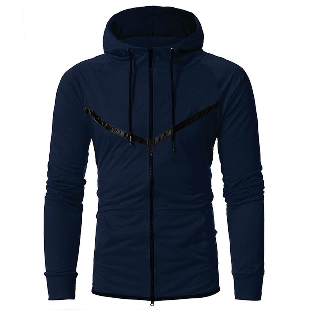 Sinzelimin Winter Autumn Mens' Bomber Jacket Long Sleeve Hooded Sweatshirt Coat Outwear Motorcycle Jacket (Navy, XL)
