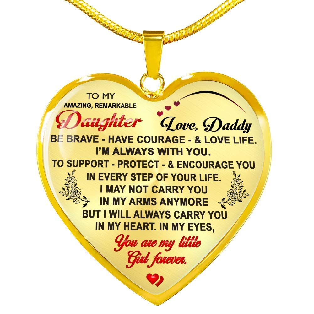 to My Daughter Necklaces Pendants Gift from Daddy to Daughter Luxury Necklace Silver Or Gold On Birthday Includes Gift Box! Anniversary Father and Daughter Necklace