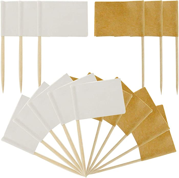 Jyongmer 400 Counts Blank Toothpick Flags Cheese Markers Kraft & White Flag Labeling Marking Stick Flags for Party Cake Food Cheeseplate Appetizers, Fruit Sticks, Cocktail Picks, Party Supplies