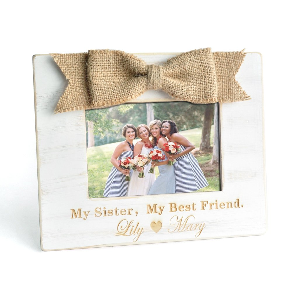 Personalized Photo Frame, Rustic Picture Frame, Bridesmaid Photo Frame, Best Friends Gift, Wedding Gift, Gift for Sister ZXB JEWELRY