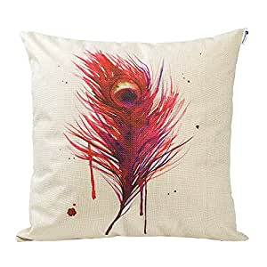 Happytimelol 18 x 18 Cotton Linen Throw Pillow Case Cover (3D Feather Style 1)