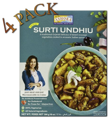 Ashoka Microwaveable Ready to Eat Meals - Surti Undhiu Mixed Seasonal Vegetables Cooked in Aromatic Indian Spices (Pack of 4)