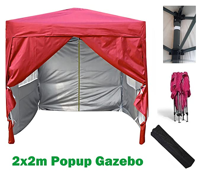 Mcc® Gazebo plegable impermeable del gazebo 2x2m, tienda del pabellón con la capa protectora de plata incluye paredes laterales [WS] (color Rojo): ...