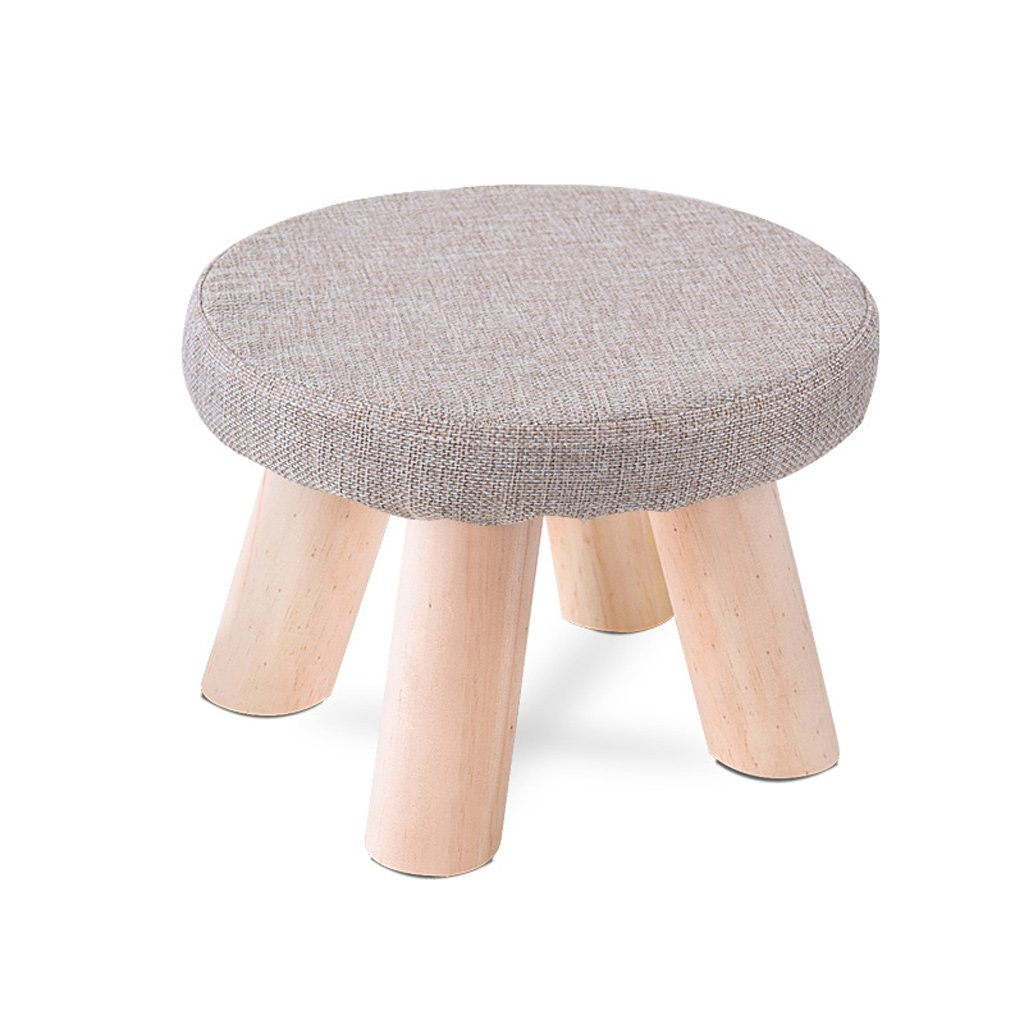 Duzhengzhou Padded Footstools Foot Rest with Wooden Legs Linen Fabric Cover Blue (Color : 2)
