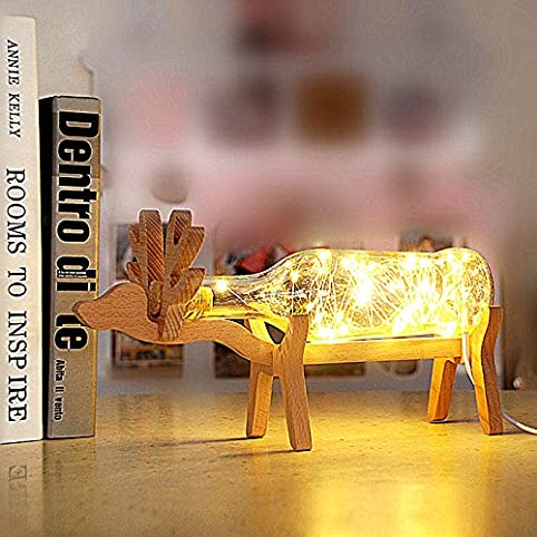Home decor industrial diy wine bottle table lamp light with deer home decor industrial diy wine bottle table lamp light with deer stent us plug mozeypictures Gallery