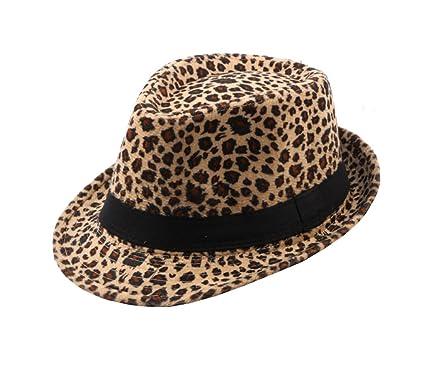 ACVIP Unisex Leopard Print Fedora Trilby Gangster Hat Women Jazz Cap  (Band-Light Coffee)  Amazon.co.uk  Clothing 57278a6841c