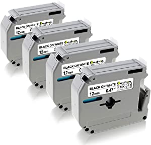 Greateam Compatible Label Tape Replacement for Brother MK-231 12mm 0.47inch Black on White use for Brother Label Maker PT 80 90 65 M95 Tape Cassettes 4-Pack