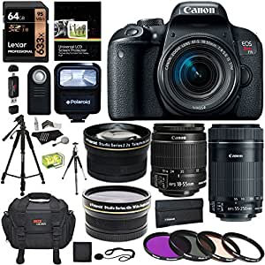 "Canon EOS REBEL T7i EF-S 18-55 IS STM Kit, EF 55-250mm II, Lexar 64GB, Polaroid Wide Angle, Telephone Lens, Polaroid 72"" Tripod and Accessory Bundle"