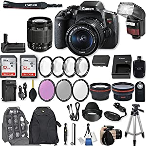 "Canon EOS Rebel T6i DSLR Camera EF-S 18-55mm f/3.5-5.6 IS STM Lens + 2Pcs 32GB Sandisk SD Memory + Automatic Flash + Battery Grip + Filter & Macro Kits + Backpack + 50"" Tripod + More"