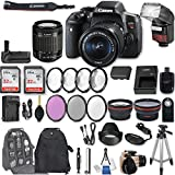 Canon EOS Rebel T6i DSLR Camera EF-S 18-55mm f/3.5-5.6 IS STM Lens + 2Pcs 32GB Sandisk SD Memory + Automatic Flash + Battery Grip + Filter & Macro Kits + Backpack + 50 Tripod + More