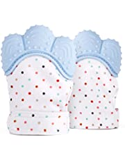 [2 PACK] Baby Teething Mitten, Soft Food-Grade Silicone Teether Handy Teething Mitt Toy for Self-Soothing, BPA-Free, for 3–12 Month Infants, Mint Green (2 Mittens - Blue)