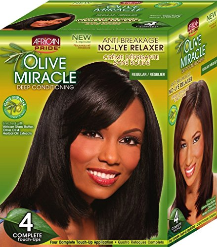 African Pride Olive Miracle Deep Conditioning No-Lye Relaxer - Regular Kit 4-Count ()