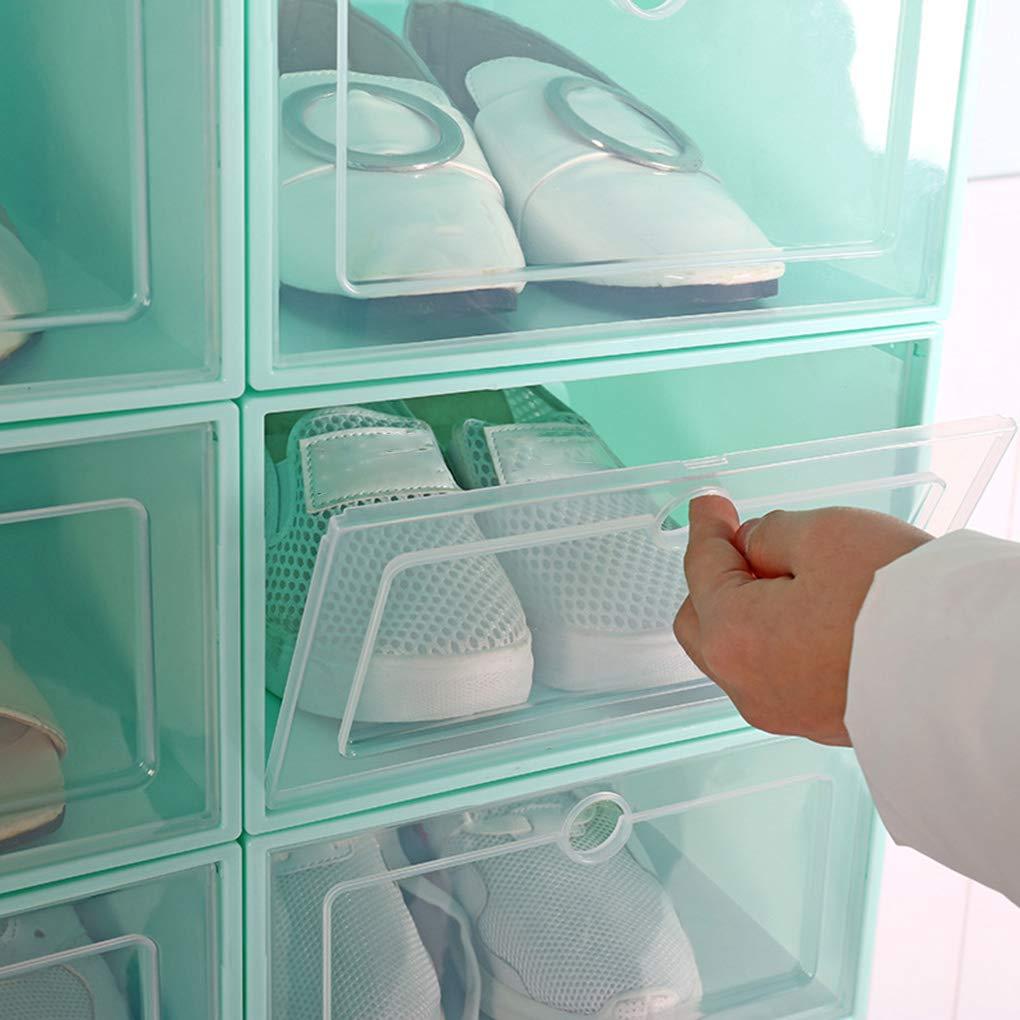 Zapatos Flip Caja Transparente del Zapato del caj/ón Caja de pl/ástico Cajas de Almacenamiento apilable Organizador del Caso Regard L