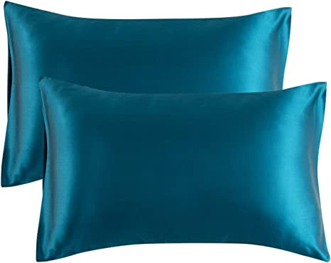 bedsure satin pillowcase for hair and skin 2 pack standard size 20x26 inches pillow cases satin pillow covers with envelope closure teal
