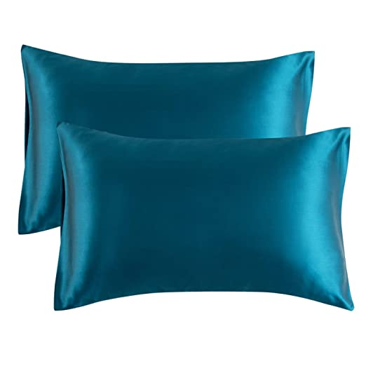 Bedsure Funda Almohada 50x75cm de Satén Pelo Rizado Verde Azulado 2 Piezas - Muy Liso Suave de 100% Microfibra sin Cremallera