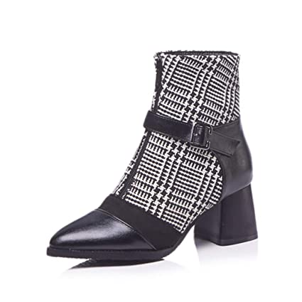 89b4f3fa6bb26 Amazon.com: Kyle Walsh Pa Women Elegant Ankle Boots Square High Heel ...