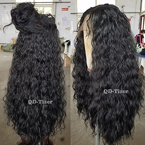 QD Tizer 180 Density Long Loose Curly Synthetic Lace Front Wigs Black Color Hair For Fashion Women