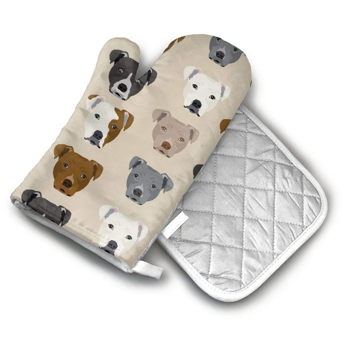 ECEED DAI Pitbull Heads Oven Mitts with Potholders Gloves Non-Slip Easy to Use Gloves Pot Holder for Cooking BBQ Baking