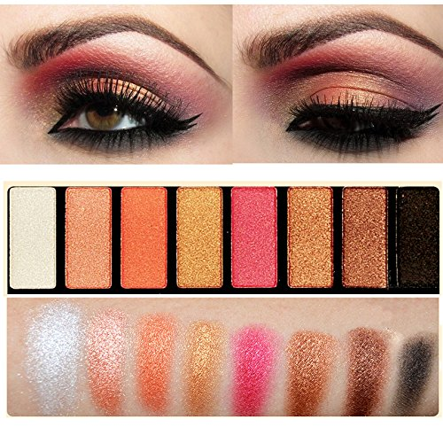 Rose Gold Eyes Makeup Warm Palette 8 Colors Shimmer Eye Shadow Palette Cosmetic Set