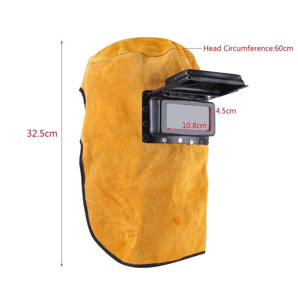 Delaman Durable M/áscara de Soldadura Transpirable Resistente al Calor Protecci/ón de la Cabeza del Casco con Lente Casco de Soldadura