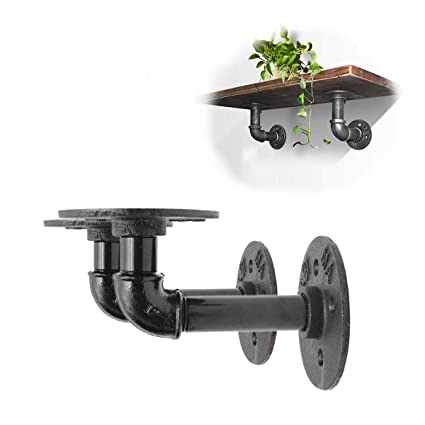 Bathroom Hardware 2pcs Industrial Black Iron Pipe Bracket Wall Mounted Floating Shelf Hanging Wall Hardware Decor For Farmhouse Shelving Hardware Complete In Specifications Bathroom Shelves