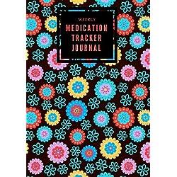 Weekly Medication Tracker Journal: Black Floral Daily Medicine Reminder Log | Tracking, Monitoring Sheets | Treatment History | Tablet Med Organizer, ... Size Book (Monitoring Health) (Volume 5)