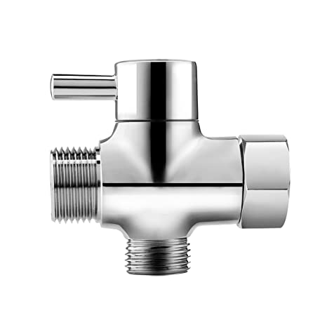 Brass 3 Way T Adapter Diverter Tee Connector With Shut Off Valve