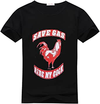 anyshopping Save Gas Ride mi gallo camisa de cuello redondo camiseta para hombre: Amazon.es: Ropa y accesorios