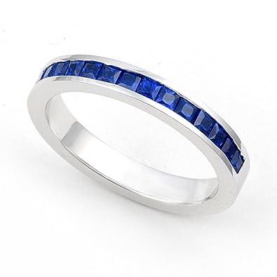 platinum channel set blue sapphire wedding band ring 4 - Blue Sapphire Wedding Ring Sets