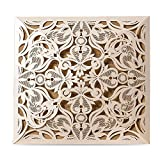 Doris Home Square Ivory Laser-cut Lace Flower Pattern Wedding Invitations Cards Fall Bridal or Baby Shower Invite, Birthday Invitation Wedding Rehearsal Dinner Invites, Autumn Engageme,50pcs,CW519_WH