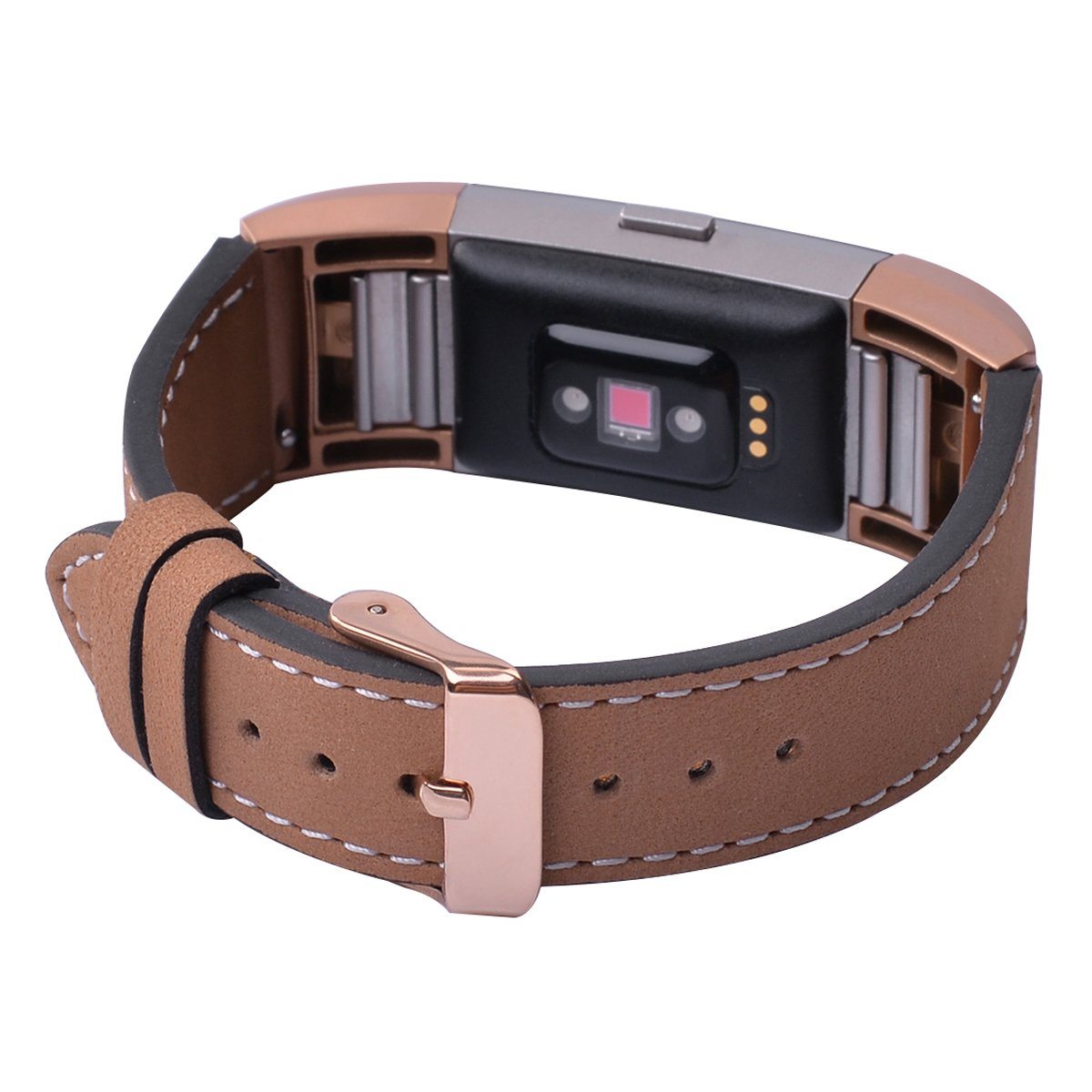for Fitbit Charge 2 Smartwatch Strap Adapter Classic Genuine Leather Watch Band Wristband Apricot Small