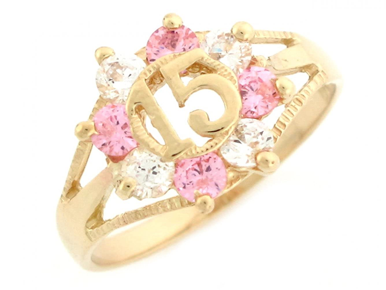 Jewelry Liquidation 14k Yellow Gold Colorful Simulated Gemstone and CZ 15 Anos Quinceanera Ring