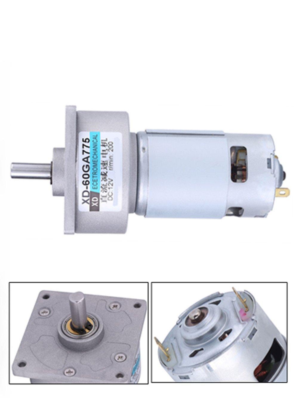 12V DC Brush Motor 35W High Torque Small Geared Motor Adjustable Speed(200 RPM )