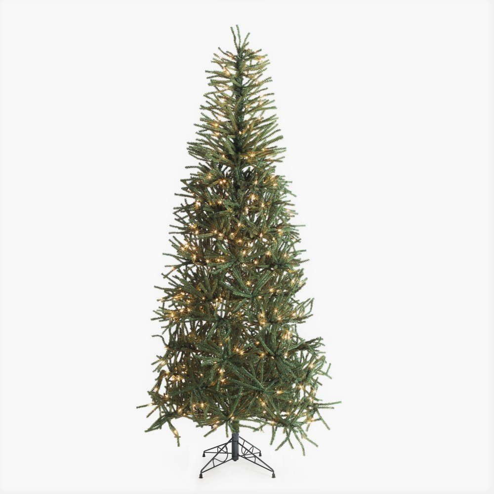 Artificial Christmas Tree. 7.5ft. Fake Xmas Spruce With Clear Lights, Classic Fir Shape & Green Foliage. Slim, Delicate Branches Looks Unusual & Original. Great For Indoor Holiday Season Party Decor. by Artificial-Christmas-Tree