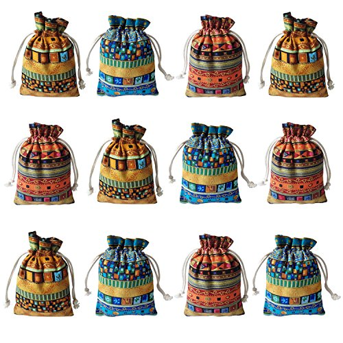Gold Fortune 12PCS Egyptian Style Jewelry Coin Pouches Aztec Print Cotton Drawstring Gift Bags ()
