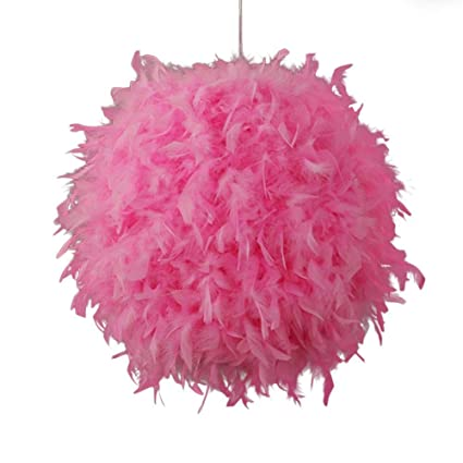 Ploufer lamparas de Techo Bola Redonda de Plumas, lampara Techo, Blanco, Rosa, Rojo Rosy, lampara Colgantes para Dormitorio, Fiesta, decoración de ...