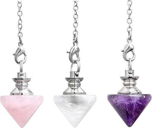 1pc Amethyst Faceted Gems Pendulum Pyramid Healing Chakra Dowsing Chain Pendant