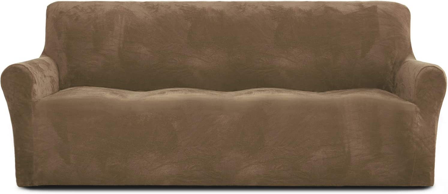 Rose Home Fashion RHF Velvet-Sofa Slipcover,Stretch Sofa Cover, Slipcover for Leather Couch-Polyester Spandex Sofa Slipcover&Couch Cover for Dogs, 1-Piece Sofa Protector(Brown-Extra Wide Sofa)