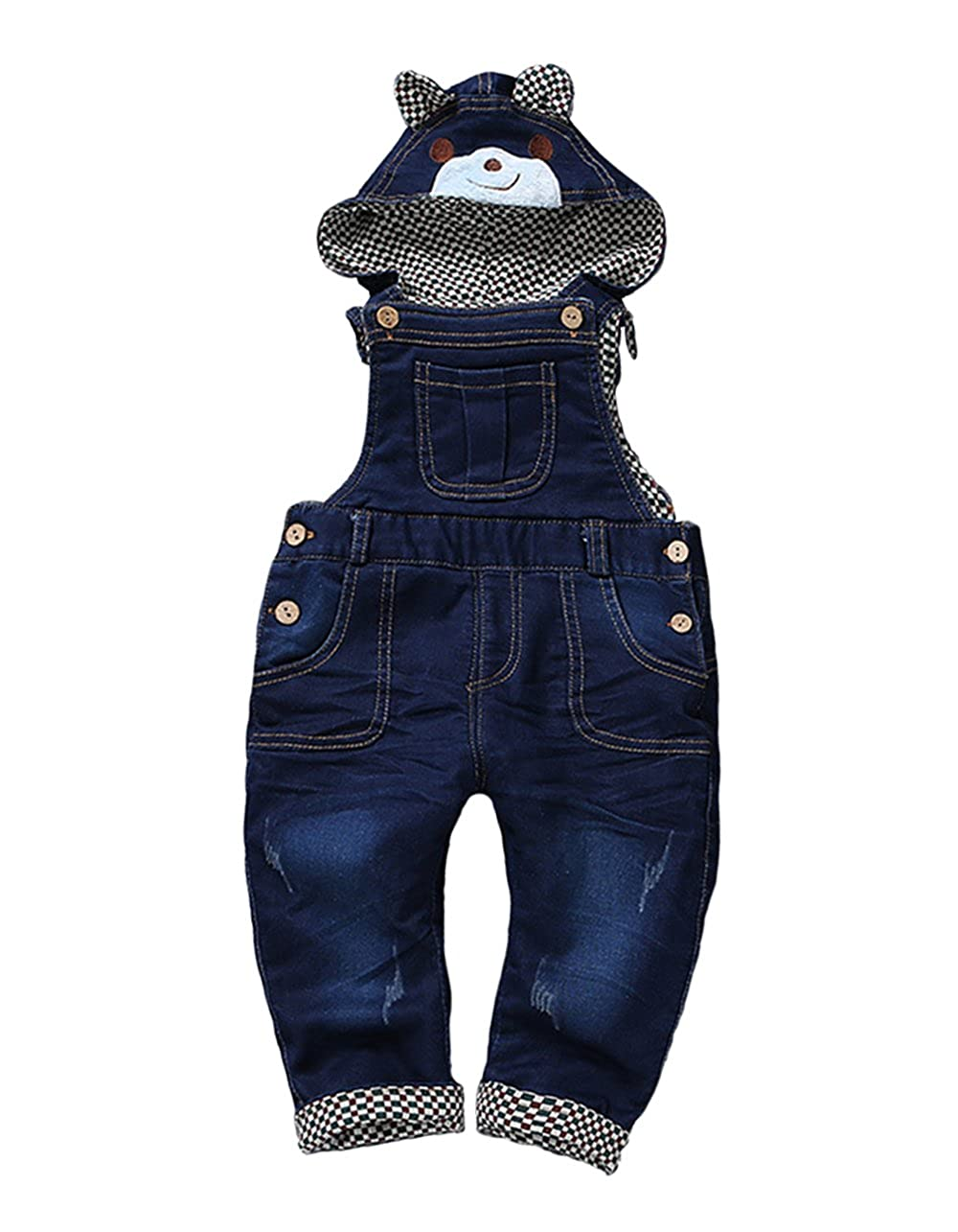 Kidscool Baby Winter Denim Fleece Overalls with Bear Hat