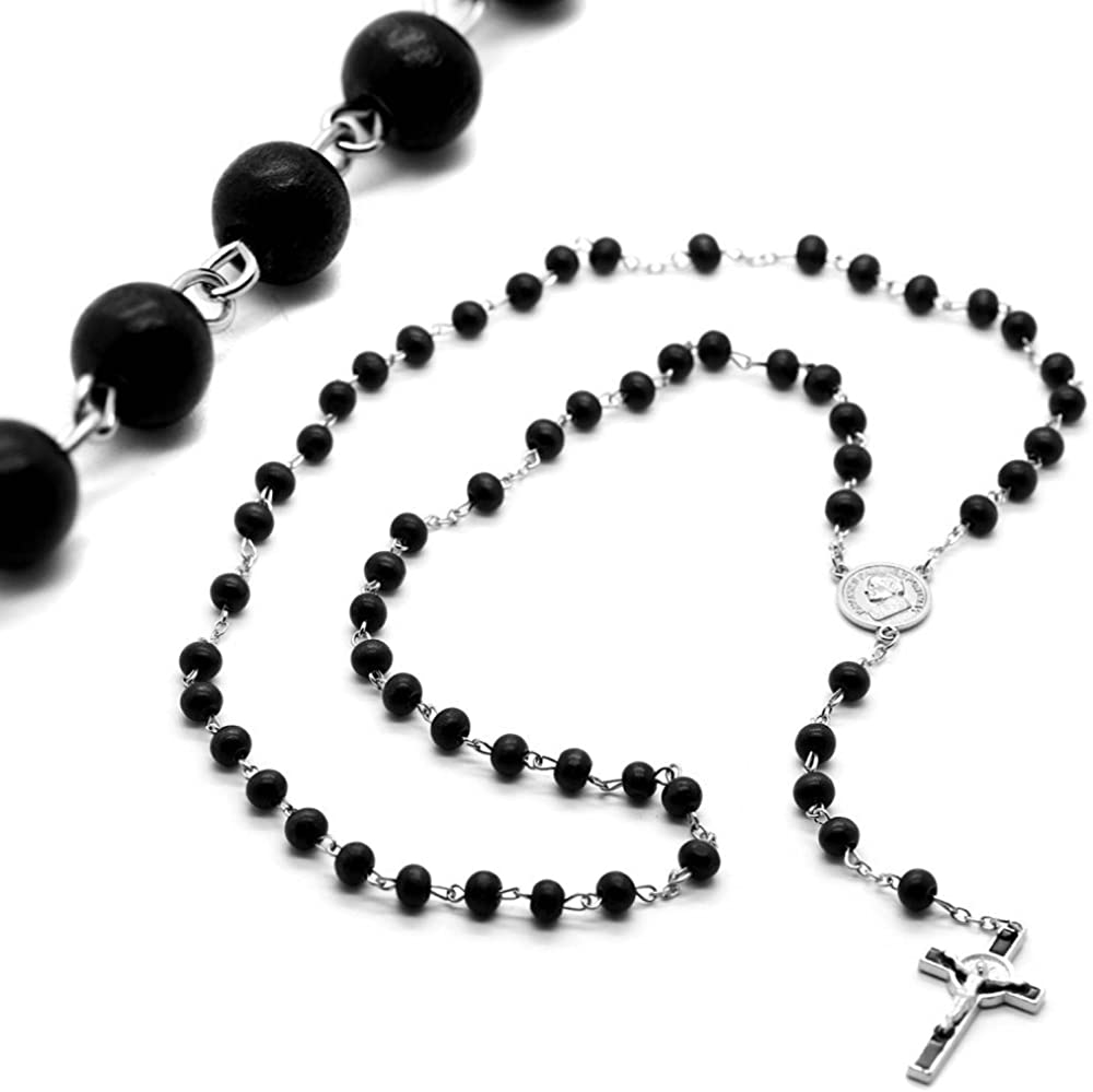 tumundo Chapelet Rosaire Collier Chaine avec Une Croix Perles en Bois Noir 55 cm Pendentif Crucifix